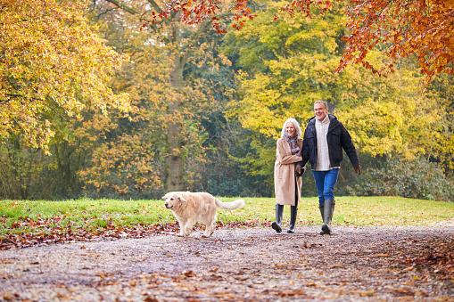 Manželský pár na procházce se psem