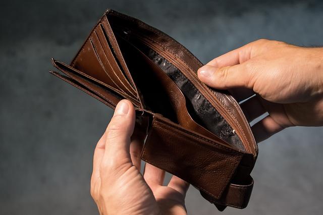 peněženka prázdná