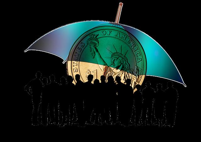 finanční deštník, mince, lidé
